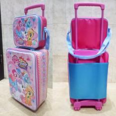 Onlan Set Koper dan Lunch Bag Anak Bahan Sponge Tahan Air Gambar Little Pony - Pink