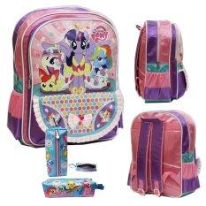 Onlan My Little Pony Tas Ransel SD Kantung Besar dan Kotak Pensil Kain - Purple Pink
