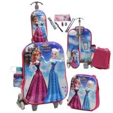 Beli Onlan Princess Frozen Fever 5D Timbul Tas Trolley Anak Sekolah 4In1 Set 6 Roda Gagang Samurai Dan Alat Tulis Pink Lengkap