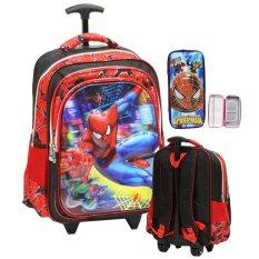 Jual Onlan Spiderman 6D Timbul Unik Tas Trolley Ukuran Anak Sekolah Sd Kantung Besar Dan Kotak Pensil Timbul Import Red Original