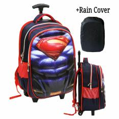 Harga Onlan Superman 6D Soft Hard Cover Timbul Tas Trolley Anak Sd Kantung Besar Import Rain Cover Blue Branded