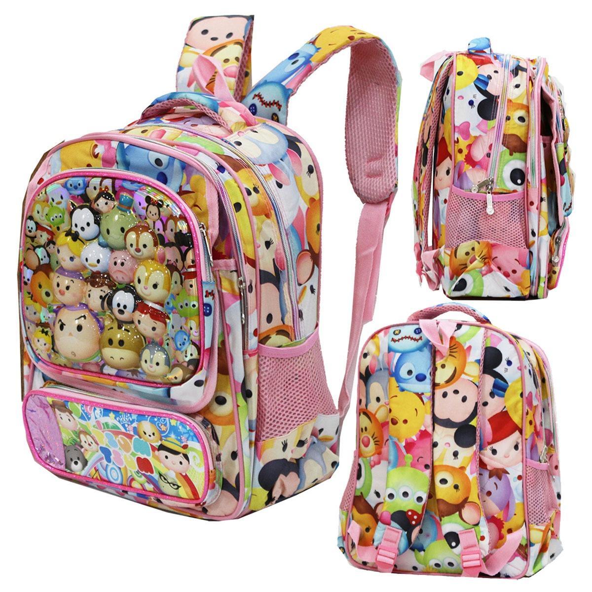 Onlan Tas Trolley Ukuran Anak Sekolah SD Bahan Saten ada 4 Kantung - Pink Onlan Tas Anak Sekolah SD Tsum 5D Timbul 4 Kantung Import