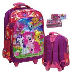 Harga Onlan Tas Anak Sekolah Trolley Sd My Little Pony 6D Timbul Unik Import Kotak Pensil Set Alat Tulis Pink New