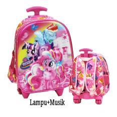 Jual Onlan Tas Lampu Music Trolley Anak Sekolah Tk Atau Pg Motif Karakter Anak Perempuan 5D Timbul Import Pink Online Di Dki Jakarta