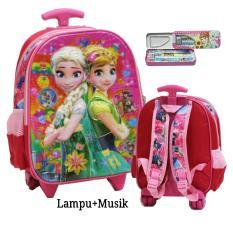 Promo Onlan Tas Lampu Music Trolley Anak Sekolah Tk Frozen Cantik 5D Timbul Hologram Import Kotak Pensil Set Alat Tulis Pink Murah