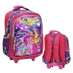 Diskon Onlan Tas Lampu Trolley Anak Sekolah Sd Karakter Anak Perempuan Cantik 3 Kantung 5D Timbul Hologram Import Pink