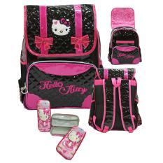 Jual Onlan Tas Ransel Anak Sd Motif Hello Kitty Import Dan Kotak Pensil Timbul Hitam Branded Original