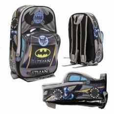 Onlan Tas Ransel Anak Sekolah PAUT Motif Batman Super Hero Bahan Sponge Tahan Air Bentuk Mobil Unik - Black