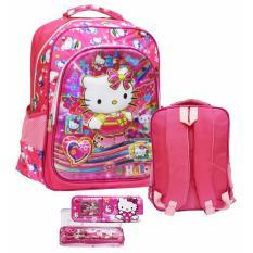 Spesifikasi Onlan Tas Ransel Anak Sekolah Sd Karakter Anak Perempuan Cantik Motif 5D Timbul Import 2 Kantung Besar Kotak Pensil Pink Dan Harga