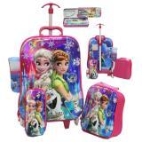 Kualitas Onlan Tas Anak 4In1 Set 6 Roda Motif Frozen Cantik Kotak Pensil Alat Tulis Import Pink Onlan