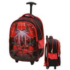 Jual Cepat Onlan Tas Trolley Anak Kantung Besar Import Motif Spiderman Super Hero 6D Timbul Red