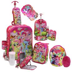 Spesifikasi Onlan Tas Trolley Anak Little Pony 6D Timbul 4In1 Set 6 Roda Gagang Samurai 2 Kantung Import Dan Topi Bantal Pink Baru