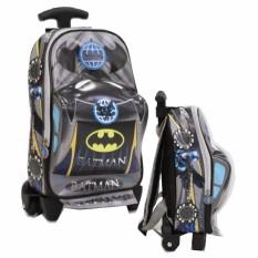 Onlan Tas Trolley Anak Sekolah Paut Batman Bentuk Mobil Bahan Kain Sponge Anti Air Terbaru