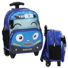 Onlan Tas Trolley Anak Sekolah PAUT Bentuk Mobil Tayo Bahan Kain Sponge Anti Air - Biru