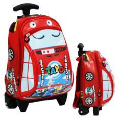 Onlan Tas Trolley Anak Sekolah PAUT Motif Karakter Anak The Little Bus Tayo Bahan Kain Sponge Tahan Air