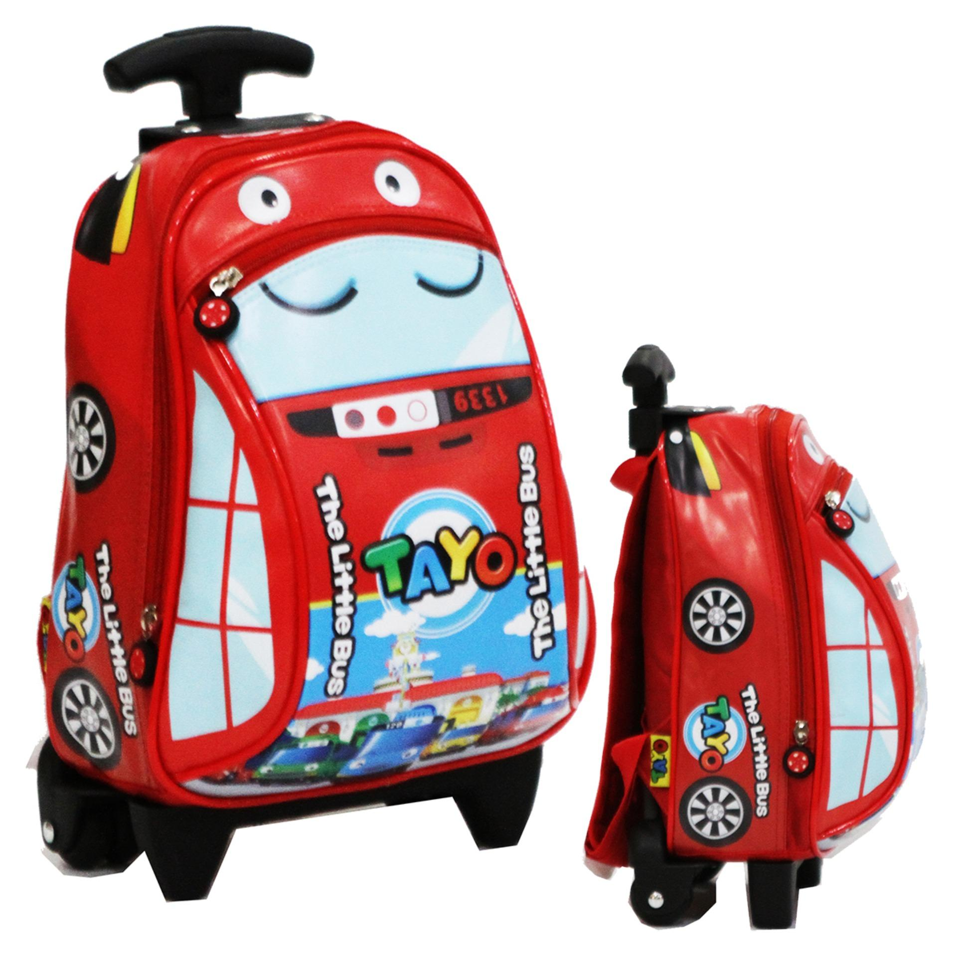Onlan Tas Trolley Anak Sekolah PAUT Motif Karakter Anak The Little Bus Tayo Bahan  Kain Sponge affccd2209