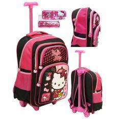 Ulasan Onlan Tas Trolley Anak Sekolah Sd Bahan Saten Karakter Anak Perempuan Dan Kotak Pensil Pink