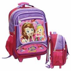 Onlan Tas Trolley Anak Sekolah SD Bahan Saten Karakter Sofia The First - Purple