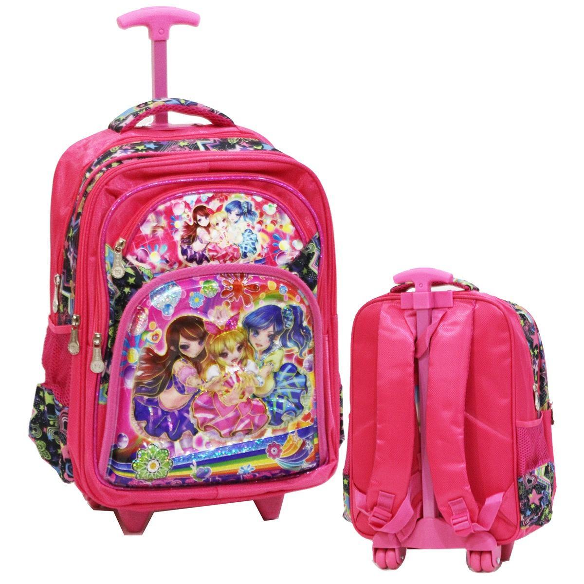 Onlan Tas Trolley Anak Sekolah SD Karakter Anak Perempuan 5D Timbul Hologram Kantung Besar Import -