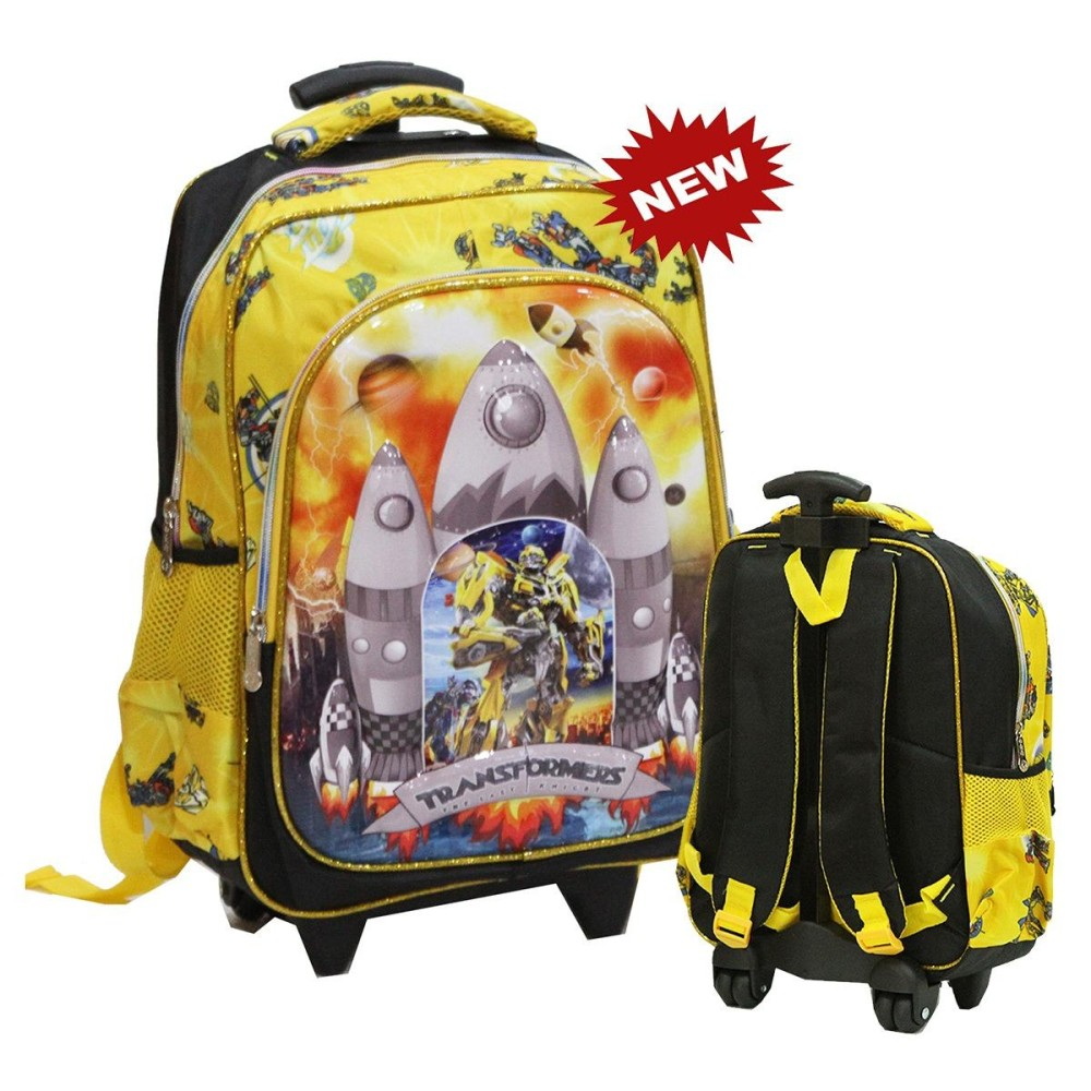 Onlan Tas Trolley Anak SD - Karakter Robot Transformers 6D Timbul Import - Yellow
