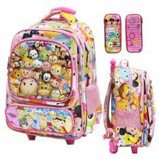 Beli Onlan Tas Trolley Anak Sekolah Sdmotif Tsum 6D Timbul Import Dan Kotak Pensil Pink Dengan Kartu Kredit