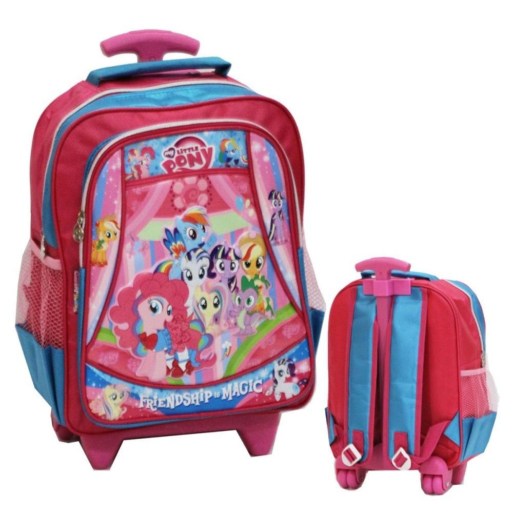 Onlan Tas Trolley Anak Sekolah TK Atau PG Karakter Cantik Soft Timbul Bahan Saten 3 Kantung