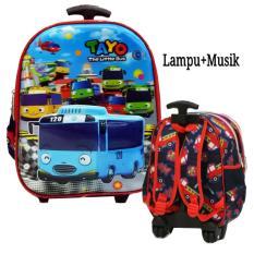 Onlan Tas Trolley Anak Sekolah TK atau PG Karakter TAYO Lampu Dan Music 5D Timbul Import