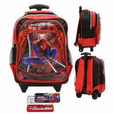 Ulasan Onlan Tas Trolley Anak Sekolah Tk Atau Pg Spiderman Soft Timbul Bahan Saten Kotak Pensil Merah