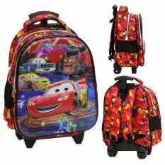 Onlan Tas Trolley Anak Sekolah TK Dua Kantung Motif Cars 5D Timbul Import - Red