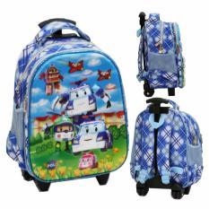 Toko Onlan Tas Trolley Anak Sekolah Tk Import Motif Karakter Robocar Poli Blue Online Terpercaya