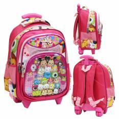 Jual Cepat Onlan Tas Trolley Anak Sekolah Tk Karakter Kartun 5D Timbul Hologram Import Pink