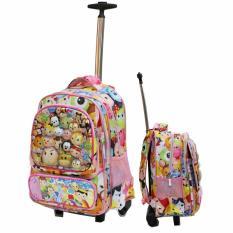 Jual Onlan Tas Trolley Sd Gagang Stainless Anti Karat Tsum Tsum 6D Timbul 4 Kantung Besar Import Pink Branded