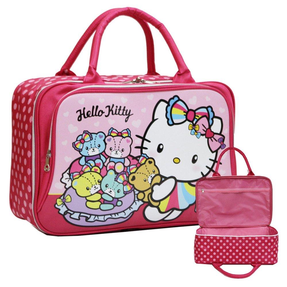 Onlan Travel Bag Motif Karakter Hello Kitty Dua Kantung Kain Sponge Anti Air - Pink