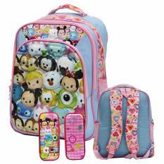 Promo Onlan Tsum Tsum 6D Timbul Tas Ransel Sd 3 Kantung Import Dan Kotak Pensil 5D Pink Onlan Terbaru