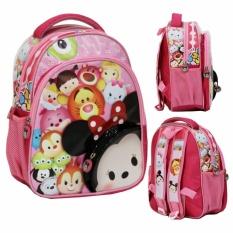 Onlan Tas Ransel Anak Sekolah TK & Play Group Bahan Sponge Tahan Air Motif Karakter Tsum Cantik - Pink
