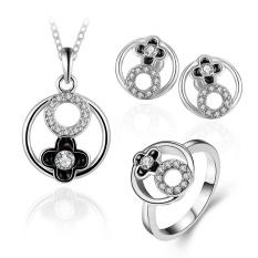 Online Fashion Perhiasan Wanita Klasik Party Tin Alloy Bridal Perhiasan Set Anting Kalung Cincin Plant Rose Berlapis Emas-Internasional