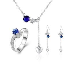 Online Emas Perhiasan Wanita Romantis Tembaga Partai Bridal Perhiasan Set Anting Cincin Kalung Round Perak Berlapis-Internasional