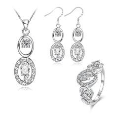 Online Emas Perhiasan Zirkon Wanita Classic Anniversary Anting Kalung Cincin Tembaga Bridal Perhiasan Set Emas Disepuh Tanaman-Intl
