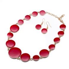 Online Perhiasan Buatan Set Wanita Fashion Casual Seng Alloy Geometris Kalung/Anting Merah Antik Berlapis Emas-Internasional