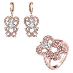 Online Perhiasan Buatan Set Zircon Wanita Pesta Klasik Anting Cincin Rose Emas Bridal Perhiasan Set Emas Disepuh Tanaman-Intl