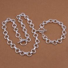 Online Perhiasan Set Wanita Pesta Trendi Kalung Tembaga/Gelang Kalung Gelang Round Perak Berlapis-Internasional