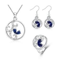 Online Perhiasan Set Zircon Wanita Pesta Klasik Earrings Cincin Kalung Tembaga Bridal Perhiasan Set Emas Disepuh Bulat-Internasional