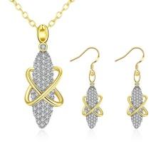 Online Perhiasan Belanja India Opal Wanita Romantis Pesta Kalung Earrings Kuning Emas Kalung/Anting-Anting Emas Disepuh Air Drop- INTL