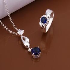 Online Perhiasan Belanja India Wanita Romantis Tembaga Partai Bridal Perhiasan Set Kalung Rings Round Antique Silver Berlapis-Internasional