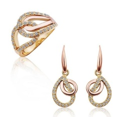 online jewellery shopping india Women Romantic Party Tin Alloy Earring/Ring Earrings Rings Water Drop Platinum Plated - intl