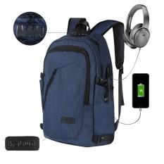 Ooplm Bisnis Tahan Air Poliester Laptop Ransel dengan USB Pengisian Port dan Mengunci Cocok Dibawah 17-Inci Laptop dan buku Catatan (Biru) -Internasional
