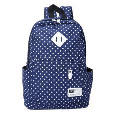 Iklan Ooplm Casual Polka Dots Backpack Canvas Backpack Tas Sekolah Untuk Wanita