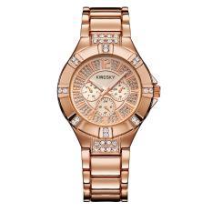 Ooplm Kingsky Produsen Jam Tangan QUARTZ Watch Model Ledakan Jepang Jam Tangan Mewah Atmosfer dari Pria dan Wanita Meja Custom Grosir SMT (Rose GoldRose Emas)