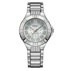 Ooplm Kingsky Produsen Jam Tangan QUARTZ Watch Model Ledakan Jepang Jam Tangan Mewah Atmosfer dari Pria dan Wanita Meja Custom Grosir SMT (SilverWhite)