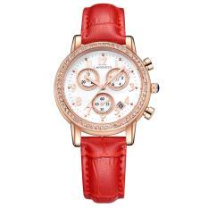 Ooplm Klasik Enam Pin Ledakan Gelombang Goiad Cincin Berlian Tunggal Kulit Watch Strap Watch Bahasa Inggris Calendar 542-1 (merah)